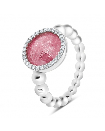 Sterling Silver Pink Beaded Ring