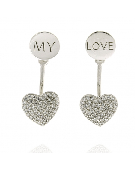 Sterling Silver My Love Heart Earrings