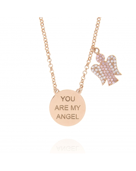 Sterling Silver Rose My Angel Necklace