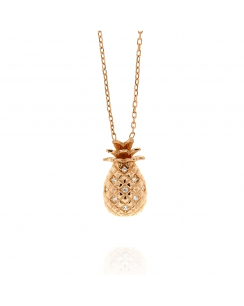 Sterling Silver Pineapple CZ Necklace