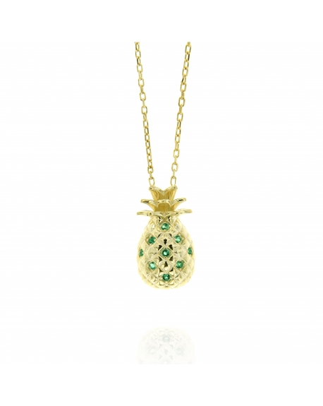 Sterling Silver Pineapple Emerald Necklace