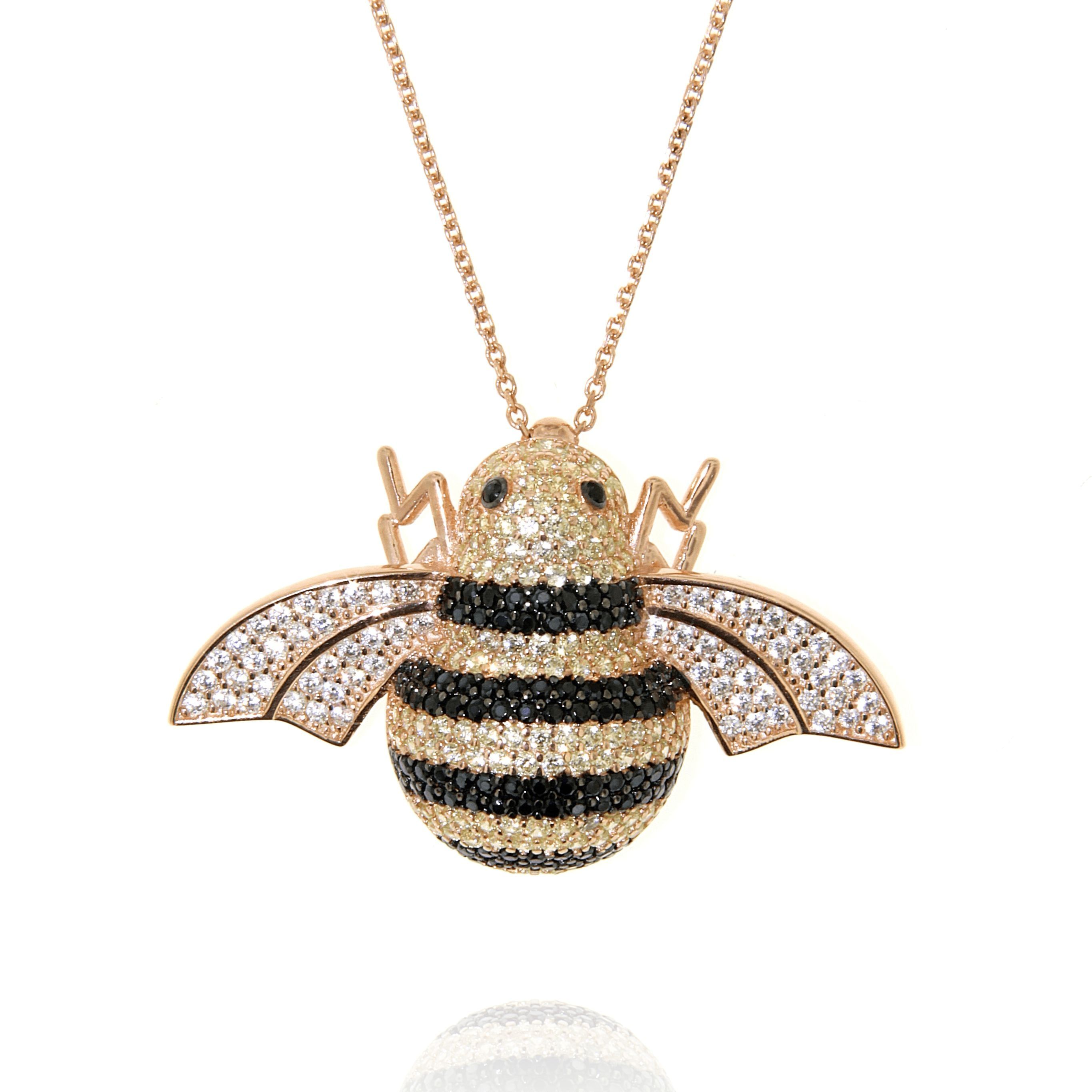 honey rowan the pendant gold bee tree necklace products tone image danon