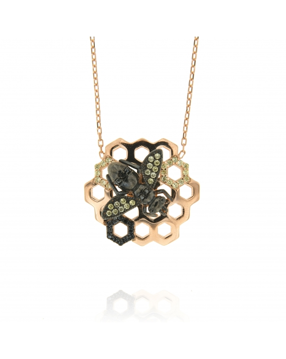 Sterling Silver Honeycomb Bee Black CZ Necklace
