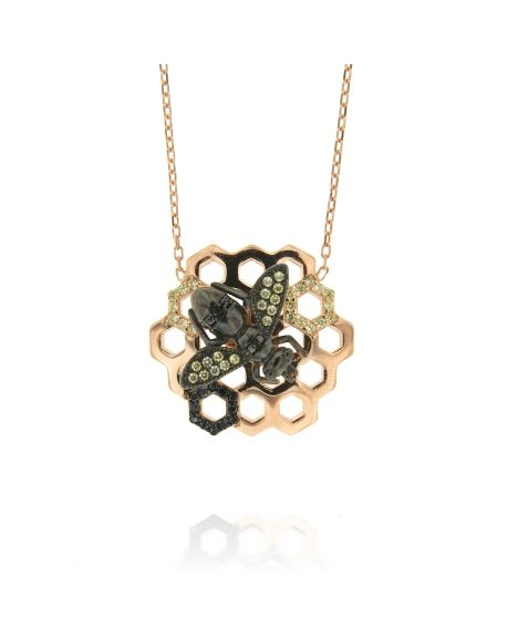 Sterling Silver Bee Honeycomb Black CZ Necklace