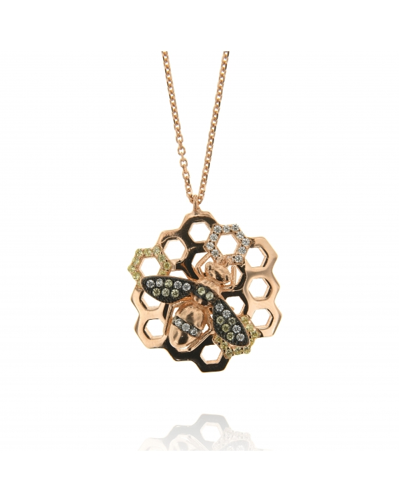Sterling Silver Honeycomb Bee CZ Necklace