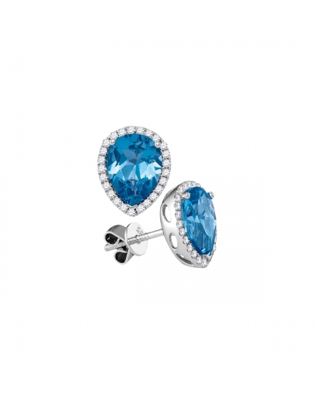 Pear Blue Topaz Diamond Halo Stud Earrings in 14k White Gold (1.75ct)