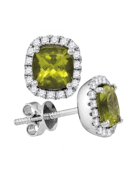 Princess Peridot Diamond Halo Earrings in 14k White Gold (1.00ct)