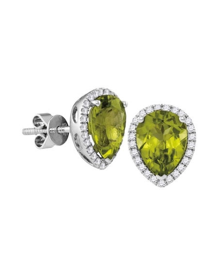 Pear Peridot Diamond Halo Earrings in 14k White Gold (1.63ct)