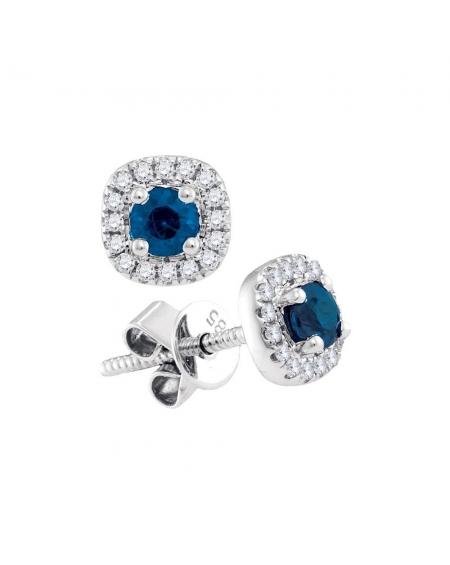Blue Sapphire Diamond Halo Earrings in 14k White Gold (.50ct)