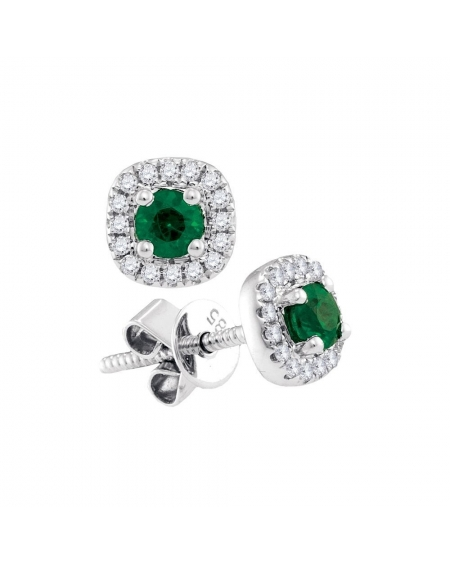 Emerald Diamond Halo Earrings in 14k White Gold (.50ct)
