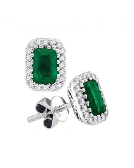 Emerald Diamond Earrings in 14k White Gold (1.5ct)