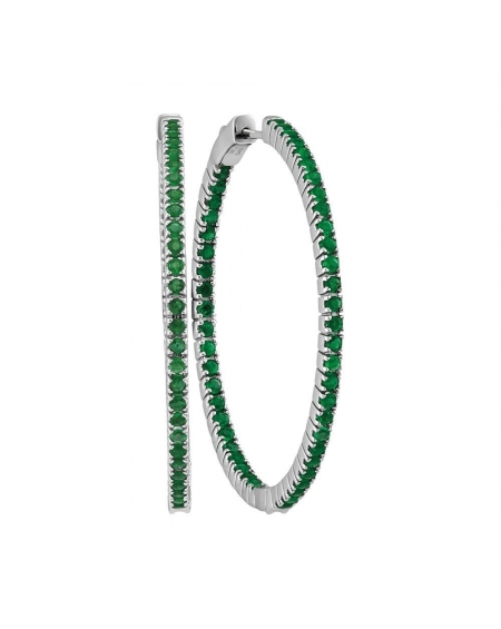 Emerald In-Out Hoop Earrings in 14k White Gold (3.00ct)