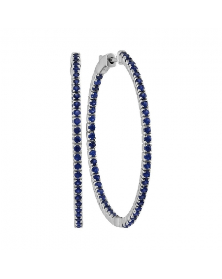 Blue SapphireIn-Out Hoop Earrings in 14k White Gold (2.88ct)