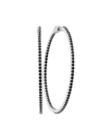 Black Sapphire Slender Hoop Earrings in 14k White Gold (3.75ct)