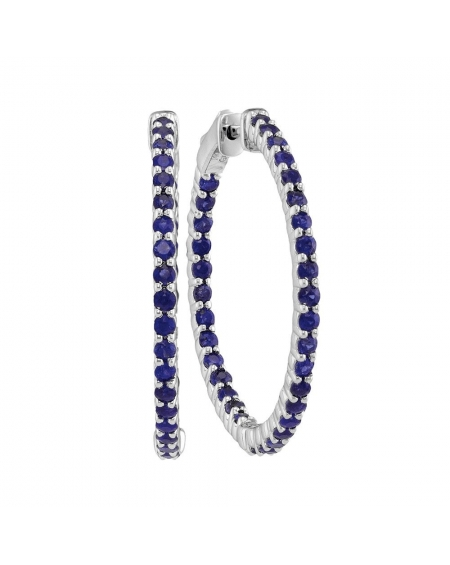 Blue Sapphire Hoop Earrings in 14k White Gold (2.33ct)