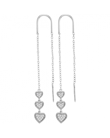 Triple Dangling Heart Threader Earrings in White Gold (.20ct)