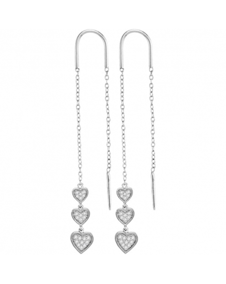 Triple Dangling Heart Threader Earrings in 10k White Gold (.20ct)