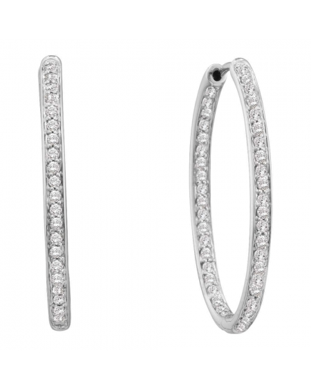 Diamond In-Out Hoop Earrings in 14k White Gold (.50ct)