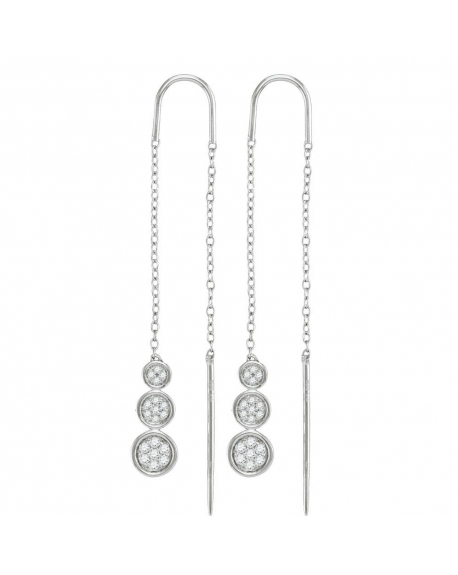 Triple Circle Threader Earrings in 10k White Gold (.13ct)