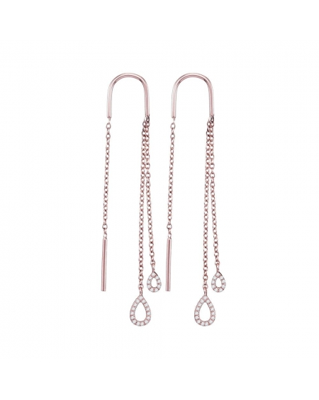 Double Teardrop Threader Earrings in 10k Rose Gold (.17ct)