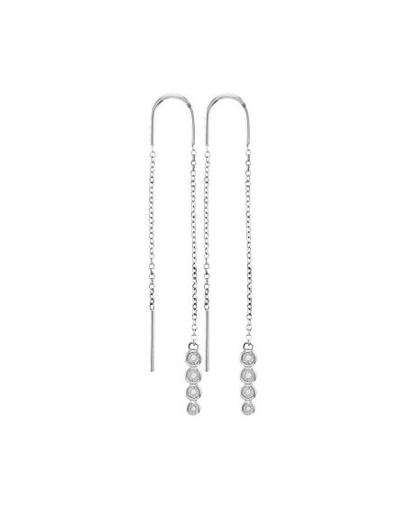 Diamond Dangle Threader Earrings in 10k White Gold (.08ct)