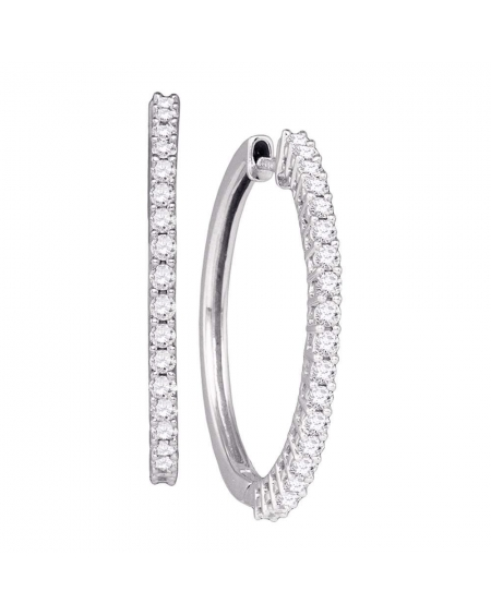 Diamond Single Row Hoop Earrings in 14k White Gold (1.00ct)