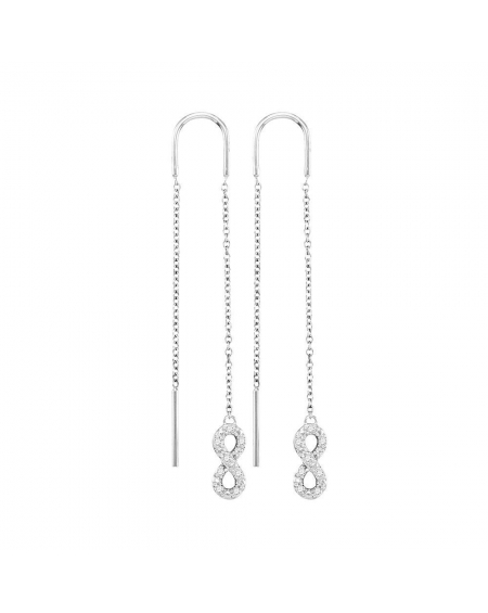 Diamond Infinity Threader Earrings in White Gold (.13ct)