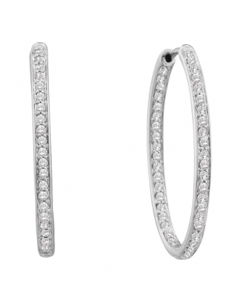Diamond In-Out Endless Hoop Earrings in 14k White Gold (.25ct)