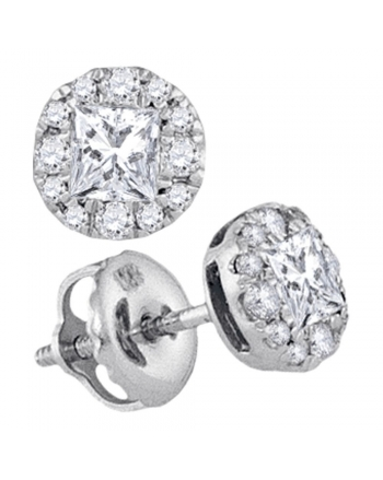 Princess Diamond Stud Earrings in 14k White Gold (.50ct)