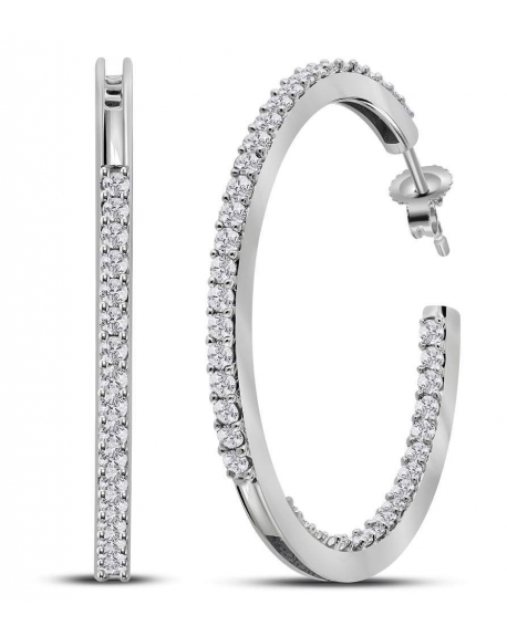 Diamond In-Out Hoop Earrings in 14k White Gold (2.0ct)