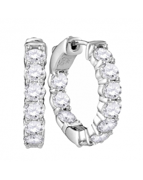 Diamond Hoop Earrings in 14k White Gold ( 3.88ct)