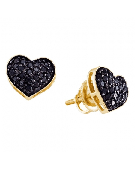 Black Diamond Stud Heart Earrings in 14k Yellow Gold (.38ct)