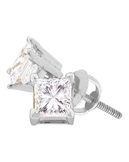 Diamond Solitaire Stud Earrings in 14k White Gold (.17ct)