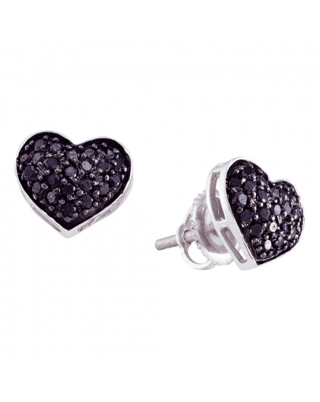 Black Diamond Pave Heart Earrings in 14k White Gold (.38ct)