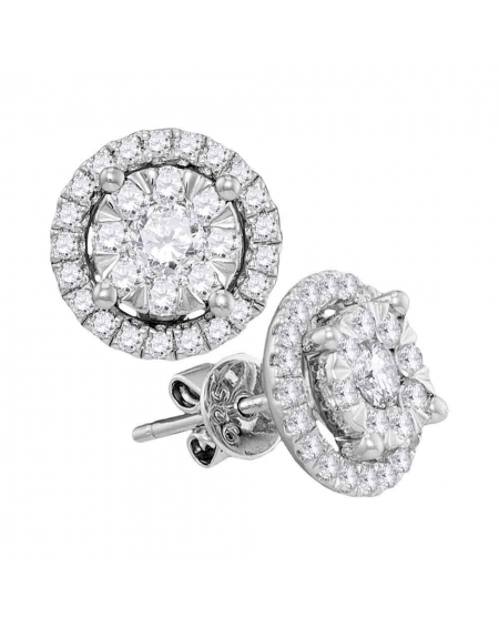 Diamond Circle Cluster Earrings in 14k White Gold (1.00ct)