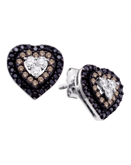 Diamond Heart Cluster Earrings in 14k White Gold (.50ct)