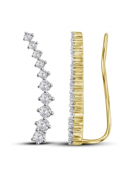 Diamond Climber Earrings in 14k Yellow Gold (.75ct)