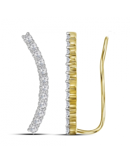 Curved Climber Earrings in 14k Yellow Gold (1.00ct)