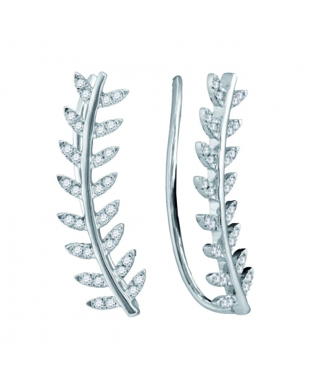 Floral Leaf Climber Earrings in 10k White (.25ct)