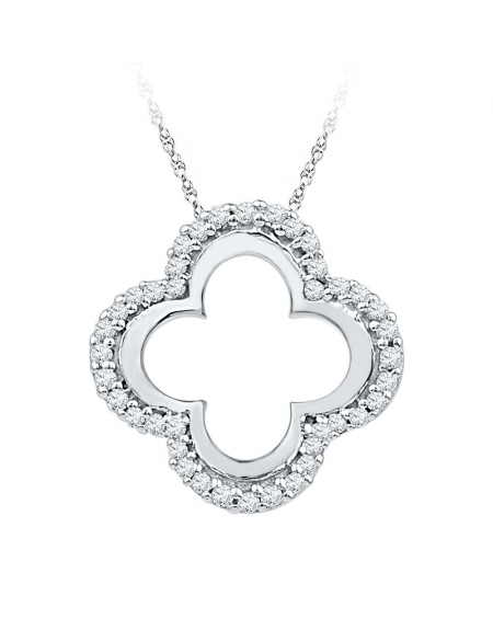 Diamond Clover Cutout Pendant in White Gold (.13ct)