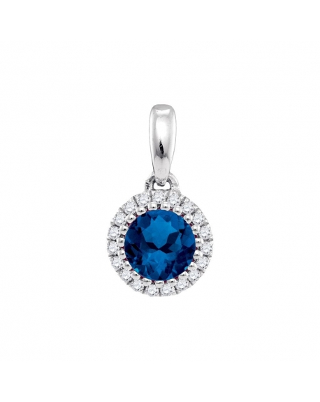 Blue Sapphire Solitaire Pendant in 14k White Gold (.63ct)
