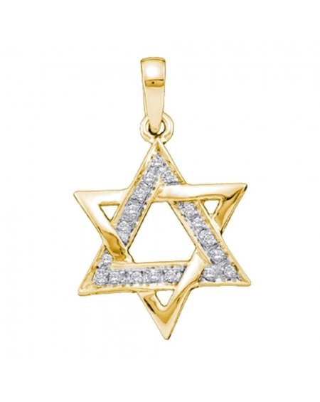Diamond Star Magen David Pendant in 14k Yellow Gold (.10ct)