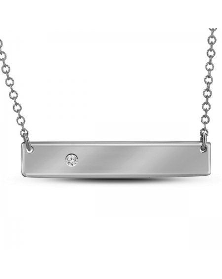 Diamond Rectangle Bar Necklace in White Gold (.02ct)