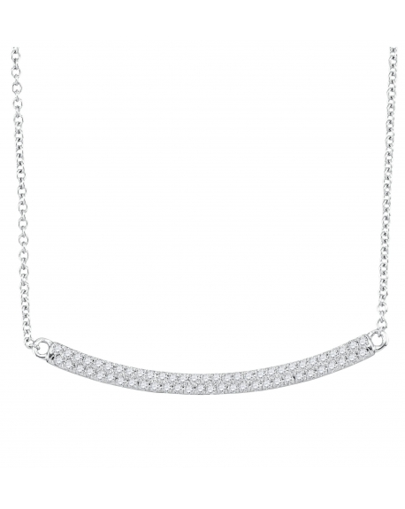 Curved Horiontal Bar Necklace in 10k White Gold (.25ct)