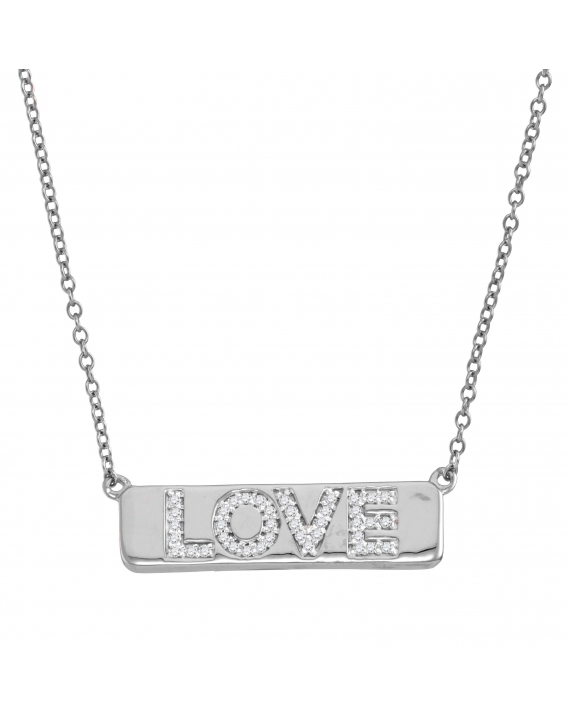 Diamond Love Bar Necklace in White Gold (.13ct)
