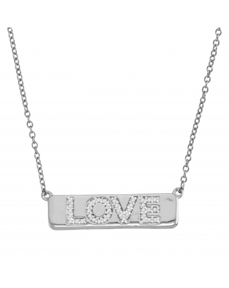 Diamond Love Bar Necklace in 10k White Gold (.13ct)