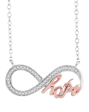 Infinity Hope Necklace in White Gold (.10ct)