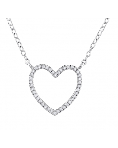 Diamond Open Heart Necklace in White Gold (.10ct)
