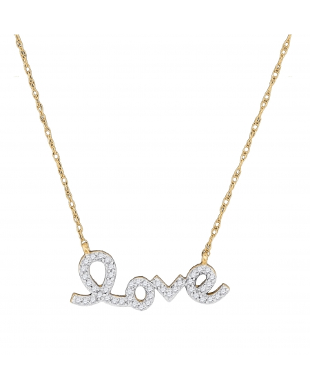 Diamond Love Necklace in 10k Yellow Gold (.17ct)