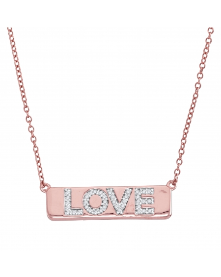 Diamond Love Bar Necklace in 10k Rose Gold (.13ct)